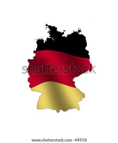 Outline of Germany, fileld with its waving flag