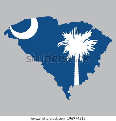 Outline of the State of South Carolina - stock photo