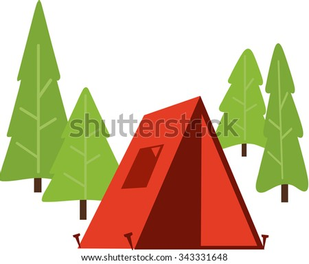 Outline Of Trees And Camping Tent Illustration