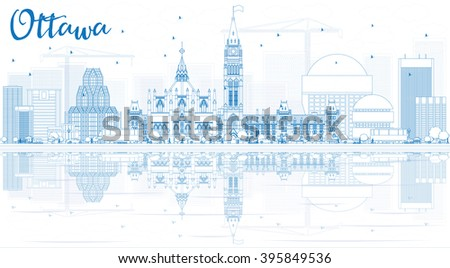 Outline Ottawa Skyline with Blue Buildings and Reflections. Business travel and tourism concept with modern buildings. Image for presentation, banner, placard and web site. - stock photo