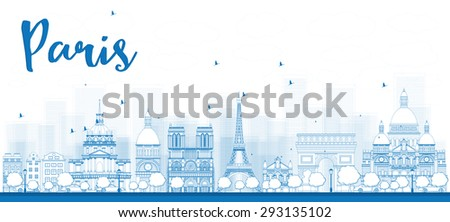 Outline Paris skyline with blue landmarks. Business travel and tourism concept with historic buildings. Image for presentation, banner, placard and web site. - stock photo