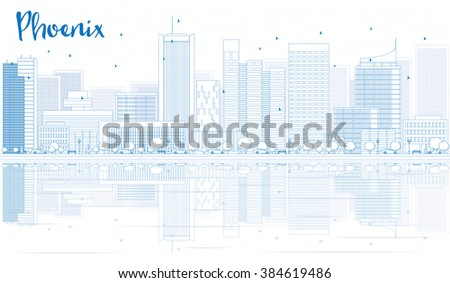 Outline Phoenix skyline with blue buildings and reflections. Business travel and tourism concept with place for text. Image for presentation, banner, placard and web site. - stock photo