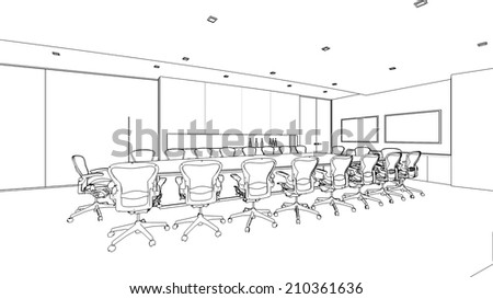 outline sketch of a interior  meeting roomwith clipping path - stock photo