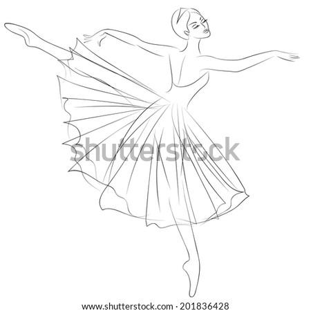 Outline sketch dancing ballerina beautiful dress stock illustration 201836428 shutterstock