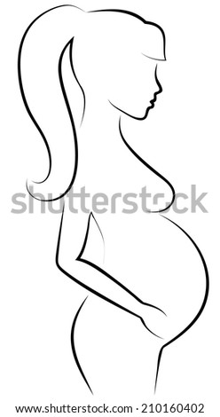 Outline sketch of pregnant woman