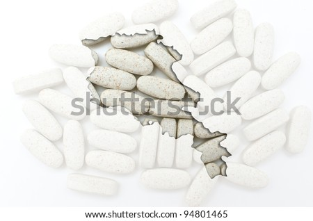 Outlined armenia map with transparent background of capsules symbolizing pharmacy and medicine - stock photo