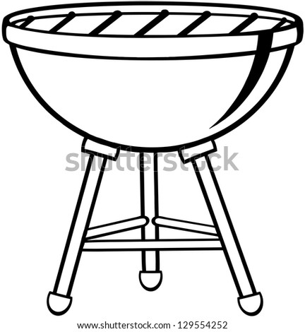 Outlined Barbecue. Raster Illustration.Vector Version Also Available In Portfolio. - stock photo