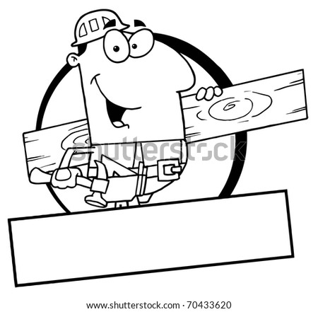 Outlined Carpenter With Wood Board - stock photo