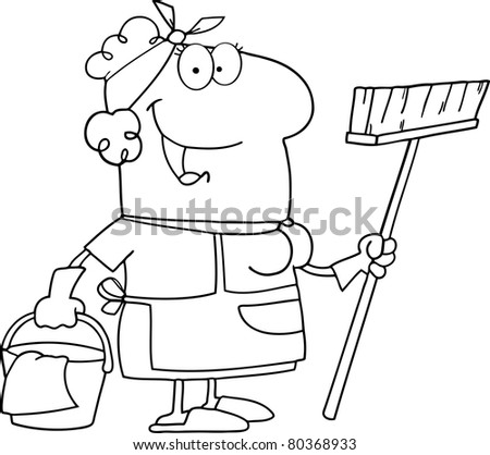 Outlined Cleaning Lady Cartoon Character.Vector version also available - stock photo