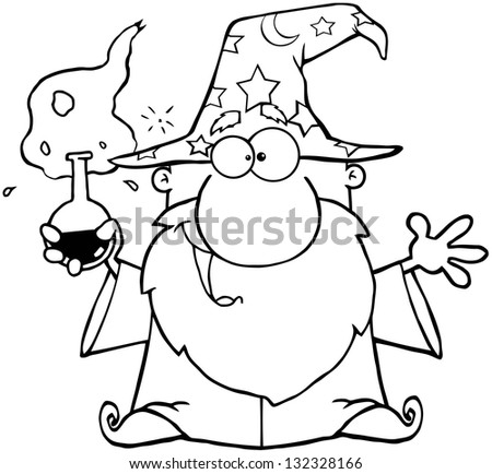 Outlined Crazy Wizard Holding A Magic Potion. Raster Illustration.Vector Version Also Available In Portfolio. - stock photo