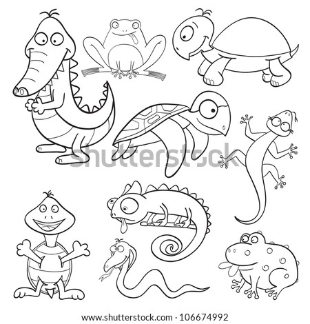 Outlined cute cartoon reptiles and amphibians for coloring book (raster version) - stock photo