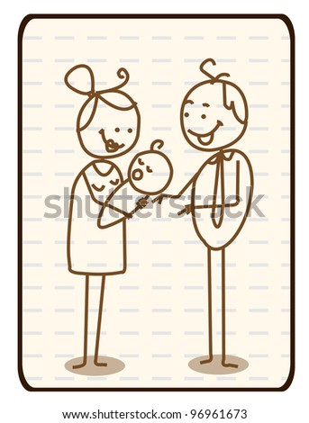 Outlined Doodle Cartoon vector husband, wife and baby