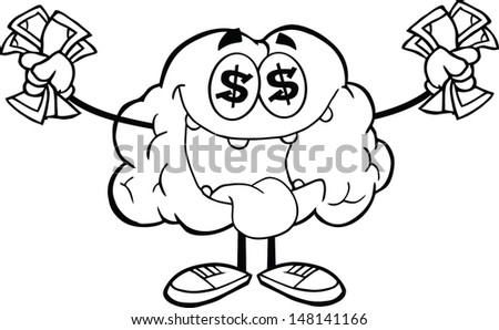 Outlined Euro Money Loving Brain Cartoon Character. Vector version also available in gallery - stock photo