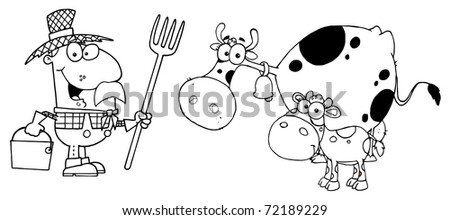 Outlined Farmer Tending To His Cattle - stock photo