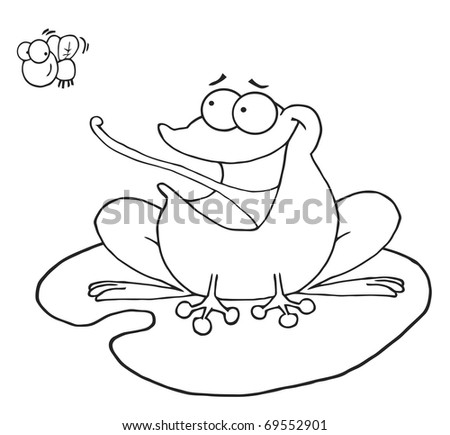 Outlined Frog Catching Fly - stock photo