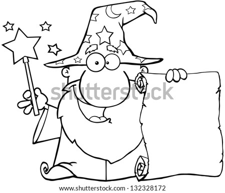 Outlined Funny Wizard Waving With Magic Wand And Holding Up A Scroll. Raster Illustration.Vector Version Also Available In Portfolio. - stock photo