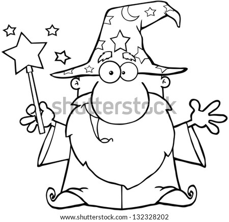 Outlined Funny Wizard Waving With Magic Wand. Raster Illustration.Vector Version Also Available In Portfolio. - stock photo