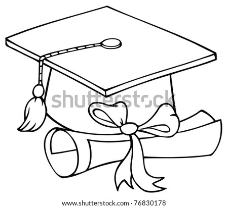 Outlined Graduate Cap With Diploma - stock photo