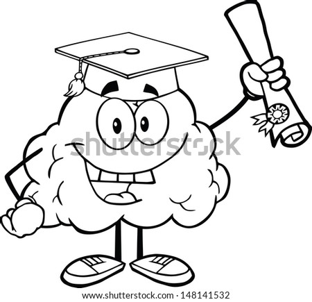 Outlined Happy Brain Character Graduate Holding up A Diploma. Vector version also available in gallery - stock photo