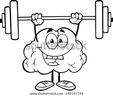 Outlined Happy Brain Character Lifting Weights. Vector version also available in gallery - stock photo