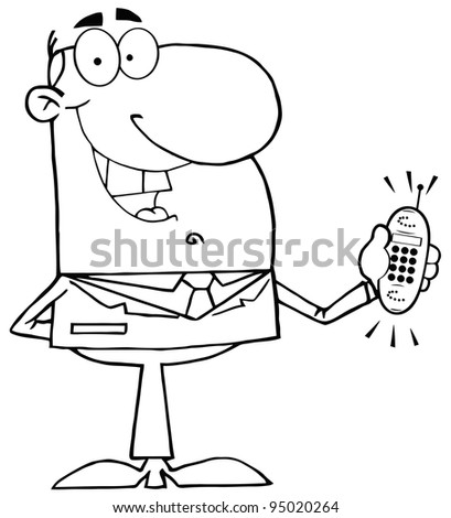 Outlined Happy Businessman With Phone Ringing - stock photo