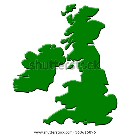 Outlined map contours of islands of Great Britain and Ireland. - stock photo