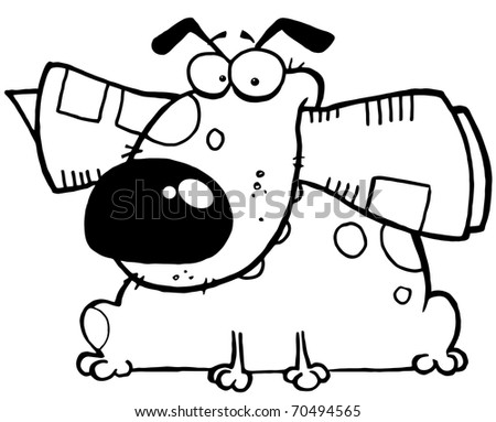 Outlined Mascot Cartoon Character Dog With Newspaper