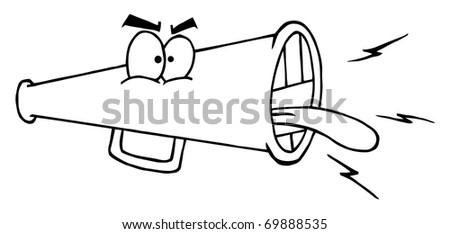 Outlined Megaphone Cartoon Character Screaming - stock photo