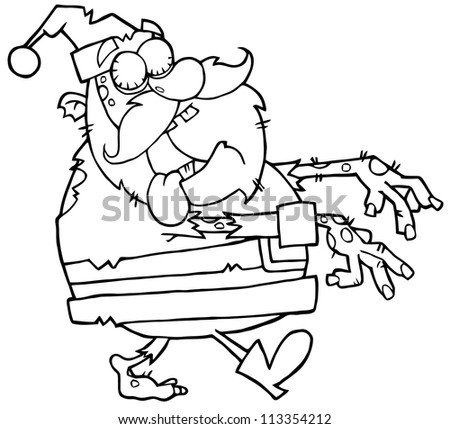 Outlined Santa Zombie Walking With Hands In Front. Raster Illustration.Vector version also available in portfolio.