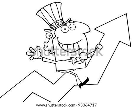 Outlined Uncle Sam Riding Up On A Statistics Arrow - stock photo