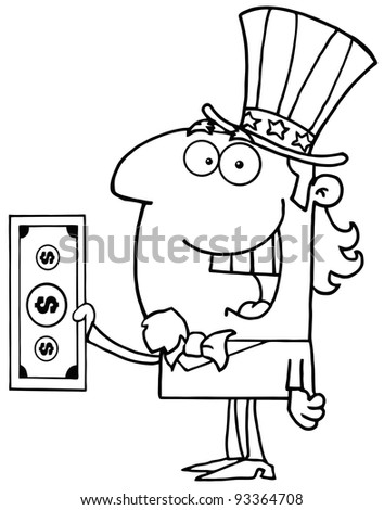 Outlined Uncle Sam With Holding A Dollar Bill - stock photo