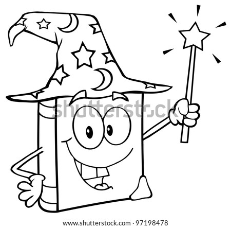 Outlined Wizard Book Cartoon Character Holding A Magic Wand. Raster Illustration.Vector version also available in portfolio. - stock photo