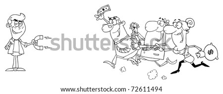 Outlined Young Businessman Using A Magnet Attracts People With Money - stock photo