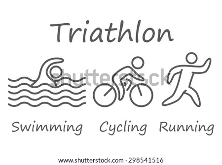 Outlines of figures triathlon athletes. Swimming, cycling and running symbols - stock photo