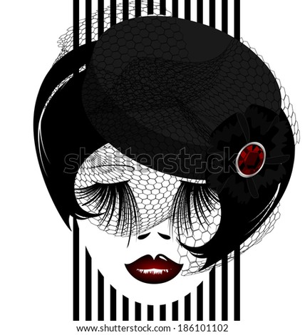 outlines woman's face with black old-fashioned hat and veil - stock photo