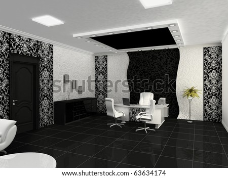 Outlook of creative office with workplace - stock photo