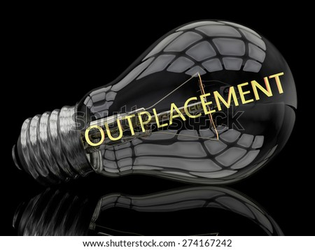 Outplacement - lightbulb on black background with text in it. 3d render illustration. - stock photo