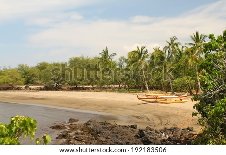 Outrigger canoe on beach at Pu'ukohola Heiau National Historic Site