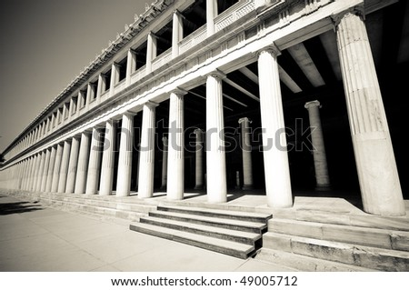 Outside columns at Stoa of Attalos, Athens, Greece