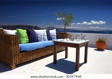 outside exterior with nicely sea view from balcony - stock photo