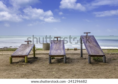 Outside gym on the beach of Fortaleza, Brazil - stock photo