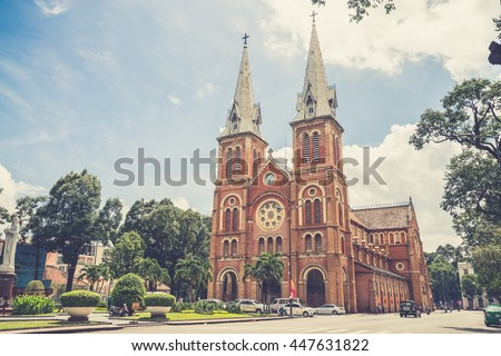 Outside Saigon Notre Dame Basilica,Vietname  (Vintage filter effect used) - stock photo