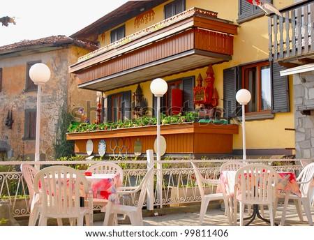 Outside terrace of Italian restaurant - stock photo