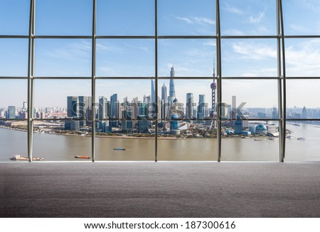 outside the window view of shanghai skyline in daytime  - stock photo
