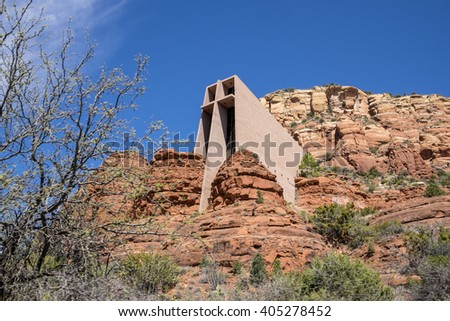 Outside View of Chapel of the Holy Cross in Sedona Arizona - stock photo
