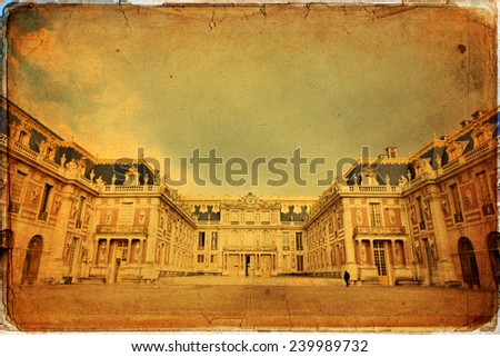 Outside view of Famous palace Versailles. The Palace Versailles was a royal chateau. It was added to the UNESCO list of World Heritage Sites. Paris, France
