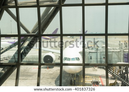 Outside window scene in terminal airport - stock photo