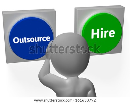 Outsource Hire Buttons Showing Subcontracting Or Freelancing - stock photo