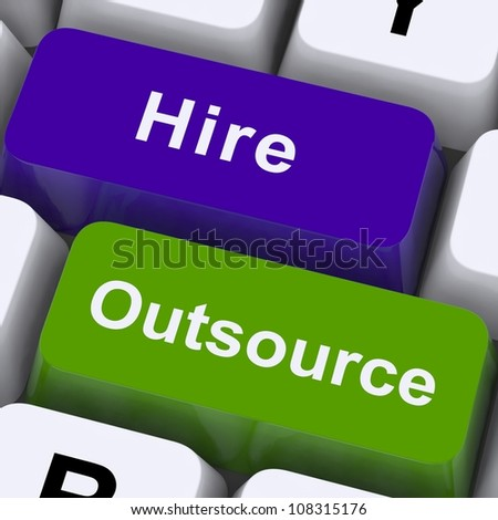 Outsource Hire Keys Showing Subcontracting And Freelance Workers - stock photo