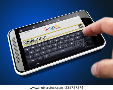 Outsource in Search String - Finger Presses the Button on Modern Smartphone on Blue Background. - stock photo